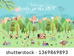 people in the park. vector... | Shutterstock .eps vector #1369869893
