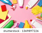 cleaning products on a colored ... | Shutterstock . vector #1369897226
