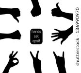 Set of vector hand silhouettes in eps8