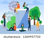 people use chatting apps find... | Shutterstock .eps vector #1369957733