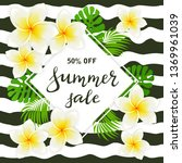 card with lettering summer sale ... | Shutterstock . vector #1369961039