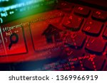 small chip on a pcb board.... | Shutterstock . vector #1369966919
