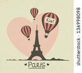 vector romantic greeting card... | Shutterstock .eps vector #136998098