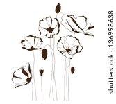 Poppy Design  Flowers Contour...