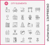 city elements hand drawn icons...