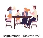 happy family sitting at dining... | Shutterstock .eps vector #1369996799