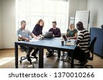 diverse group of smiling... | Shutterstock . vector #1370010266