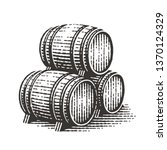 Wood Barrels. Hand Drawn...