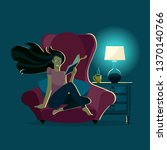 girl reads book at night in... | Shutterstock .eps vector #1370140766