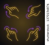 touchscreen gestures neon light ... | Shutterstock .eps vector #1370156876