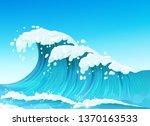 big sea or ocean wave with...   Shutterstock .eps vector #1370163533