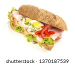rye baguette with ham and eggs | Shutterstock . vector #1370187539