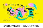 summer sale banner with memphis ... | Shutterstock .eps vector #1370196209