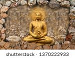 meditating lord buddha on 3d... | Shutterstock . vector #1370222933