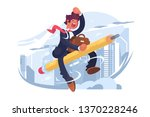 man in suit fly on pencil... | Shutterstock .eps vector #1370228246