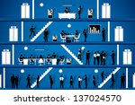 easy to edit vector illustration of people working in office workplace