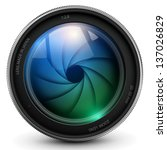 camera photo lens with shutter. | Shutterstock .eps vector #137026829