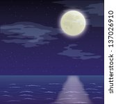 seascape landscape  dark night... | Shutterstock . vector #137026910
