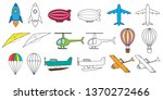 air transport set and coloring... | Shutterstock .eps vector #1370272466