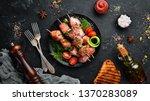 skewers with vegetables. kebab... | Shutterstock . vector #1370283089