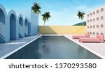 Building minimal design Blue curved wall.In the middle there is a swimming pool.pink beach seat.Concrete wall penetrate the circular hole.Concrete floor.-3D render