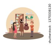 woman with children and guitar... | Shutterstock .eps vector #1370338130