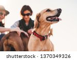 happy yellow dog and his owners | Shutterstock . vector #1370349326