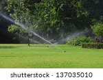 garden lawn water sprinkler. | Shutterstock . vector #137035010