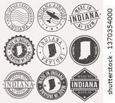 indiana set of stamps. travel... | Shutterstock .eps vector #1370354000