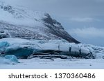 Panoramic image of the snow-coverd glacier Svinafellsjoekull on a winter day after snowfall, Iceland, Europe