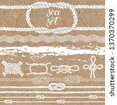 sea set of marine rope  knots ... | Shutterstock .eps vector #1370370299