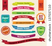 set of  retro vintage badges... | Shutterstock .eps vector #137037110