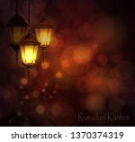 intricate arabic lamps with... | Shutterstock .eps vector #1370374319