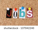the word jobs in cut out... | Shutterstock . vector #137042240