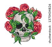 skull and roses flowers hand... | Shutterstock .eps vector #1370434826