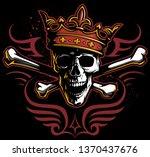 vector vintage style skull in... | Shutterstock .eps vector #1370437676