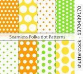 polka dot seamless pattern set. ... | Shutterstock .eps vector #1370439170