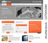 Gray Website Template 960 Grid. vector