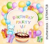 birthday card with birthday... | Shutterstock .eps vector #137044718