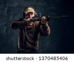 male hunter in cap and...   Shutterstock . vector #1370485406
