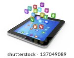 tablet pc with cloud of icon... | Shutterstock . vector #137049089