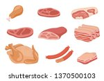 set of meat and sausages... | Shutterstock .eps vector #1370500103