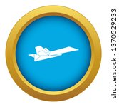 origami airplane icon blue...
