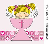first communion card. angel in... | Shutterstock .eps vector #137056718