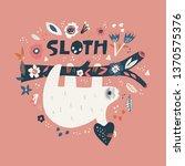 sloth cartoon hand drawn... | Shutterstock .eps vector #1370575376