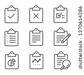 clipboard line icons collection   Shutterstock .eps vector #1370614286
