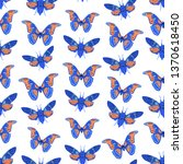 seamless pattern with butterfly ... | Shutterstock .eps vector #1370618450