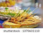 malaysian chicken satay with... | Shutterstock . vector #1370631110