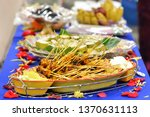malaysian chicken satay with... | Shutterstock . vector #1370631113