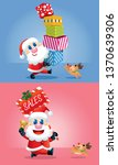 a cute santa and his reindeer... | Shutterstock .eps vector #1370639306
